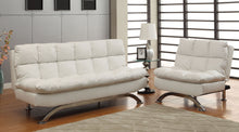Load image into Gallery viewer, Furniture Of America Aristo White Leatherette Finish Futon 2 Piece Sofa Chair Set