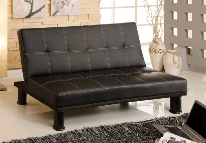 Quinn CM2394 Contemporary Style Black Leatherette Futon Sofa Bed