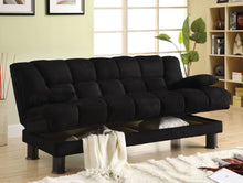 Load image into Gallery viewer, Bonifa CM2150 Black Elephant Skin Microfiber Storage Futon Sofa Bed