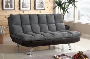 Furniture of America CM2905GP Tigray Gray Microfiber Futon Sofa Bed