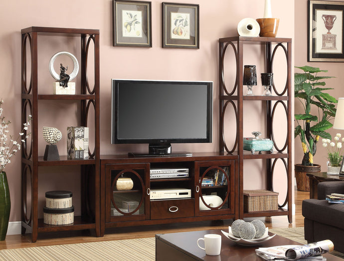 Furniture Of America Melville Dark Cherry Wood Finish 3 Piece Entertainment Center