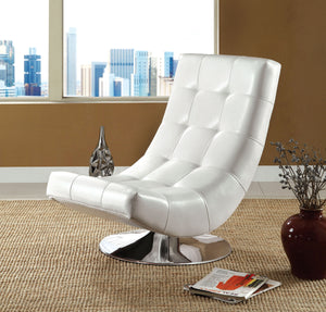 Furniture Of America Trinidad White Leatherette Finish Swivel Chair