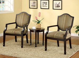 Furniture Of America Bernetta II Espresso Wood Finish 3 Piece Table and Accent Chair Set