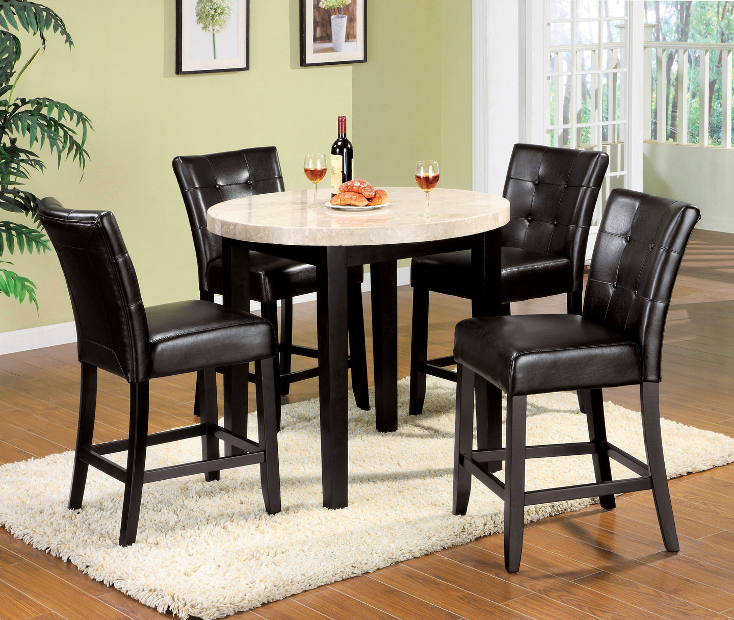 Marion II CM3866PT-40 5 Pieces Espresso Counter Height Table Set