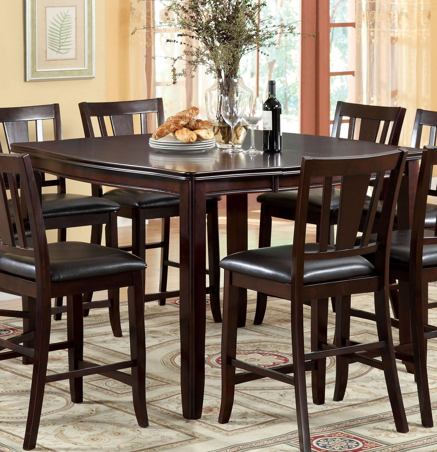 Furniture Of America Edgewood II Espresso Wood Finish Counter Height Dining Table