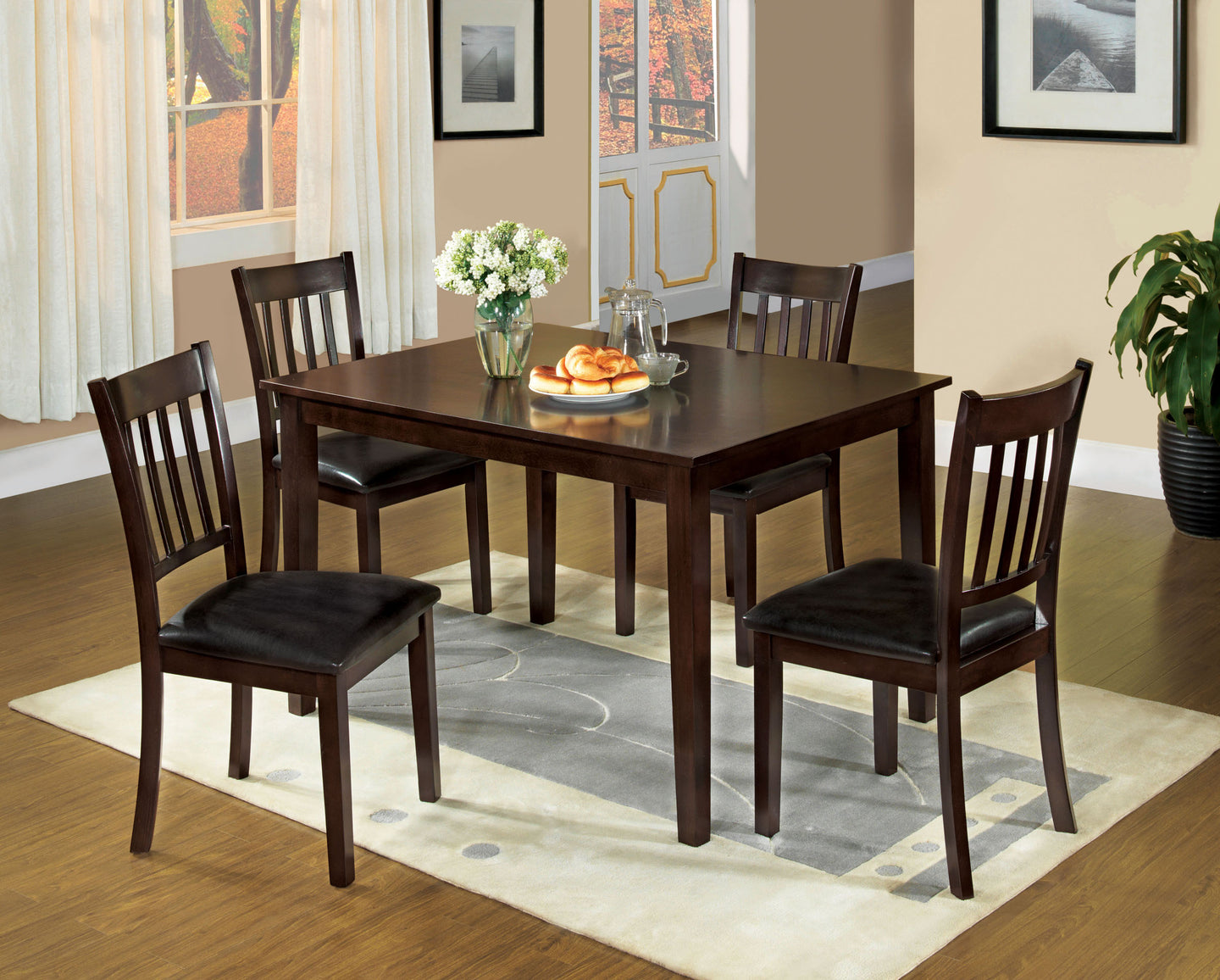 Furniture Of America West Creek I Espresso Wood Finish 5 Piece Dining Table Set