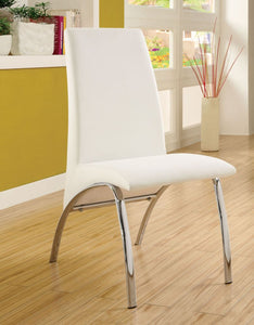 Furniture of America Wailloa White Padded Leatherette Finish 2 Piece Dining Chair