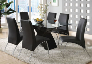 Furniture of America Wailoa Black Tempered Glass Top Finish 7 Piece Dining Table Set