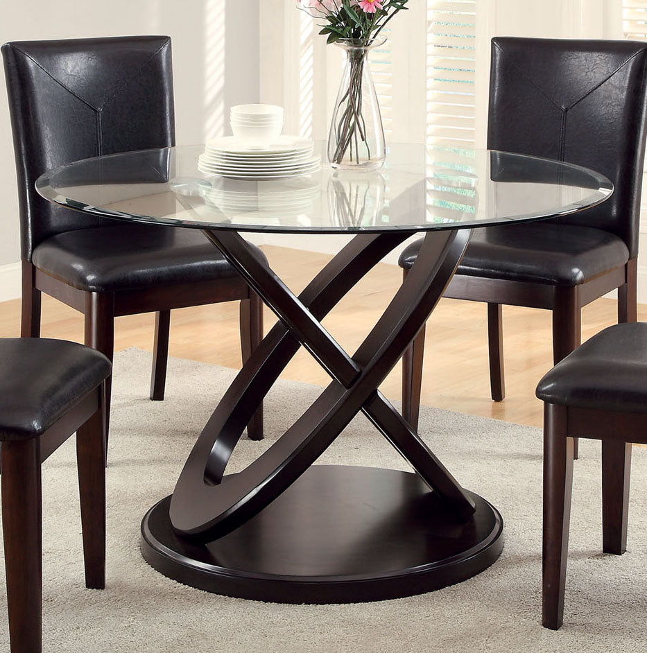 Furniture Of America Atenna I Dark Walnut Glass Top Finish Round Dining Table