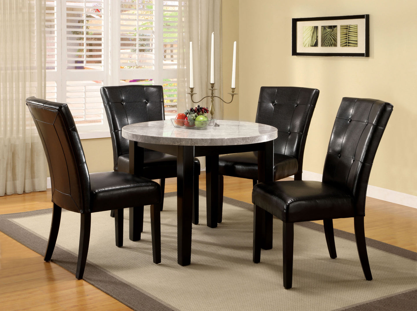 Furniture Of America Marion I Espresso Marble Top Finish 5 Piece Round Dining Table Set