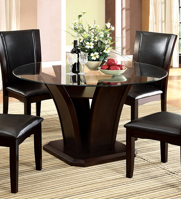 Furniture of America Manhattan Contemporary Dark Cherry Round Dining Table