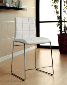 Kona II CM8320WH-PC Chrome Legs White Counter Height Chair Set of 2