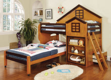 Load image into Gallery viewer, Furniture of America Citadel Oak Walnut House Design Twin over Twin Loft Bed