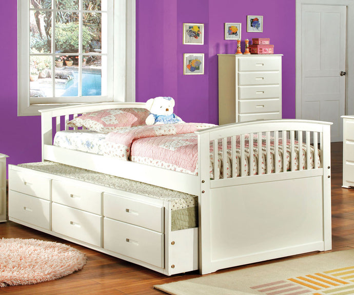 Bella CM7035W-T White Finish Captain Twin Bed with 3 Drawers Trundle