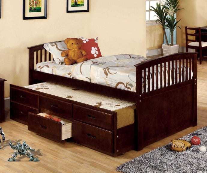 Bella II CM7035CH-T Dark Walnut Captain Twin Mission Platform Bed
