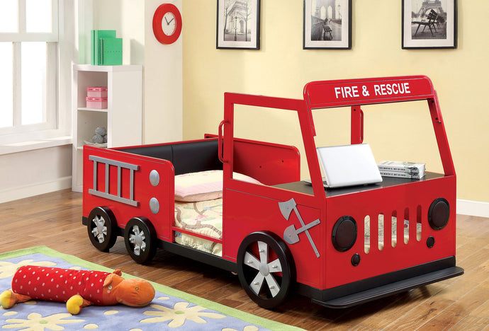 Rescuer CM7767 Kids Fire Truck Design Red Black Metal Twin Bed