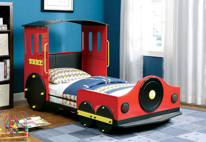 Retro Express CM7106 Contemporary Kids Train Design Red Metal Twin Bed