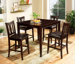 West Creek CM3888PT-5PK Transitional Espresso Counter Height Table Set