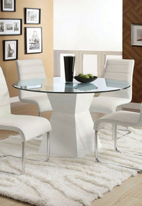 Mauna CM8371WH-T Tempered Glass Top White Round Dining Table
