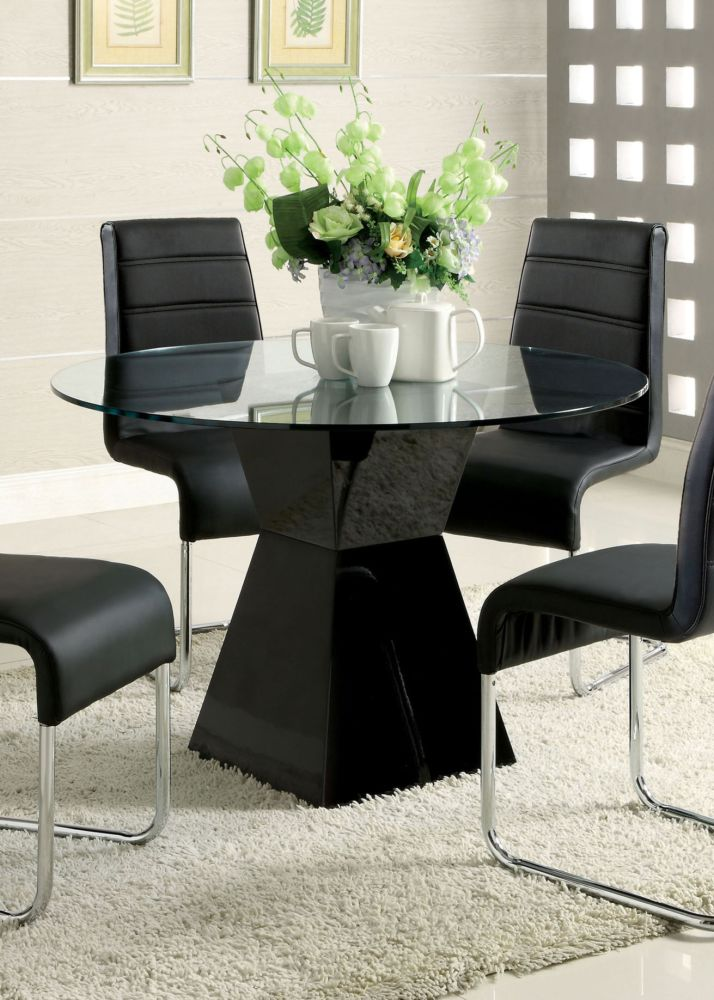 Mauna CM8371BK-T Tempered Glass Top Black Round Dining Table