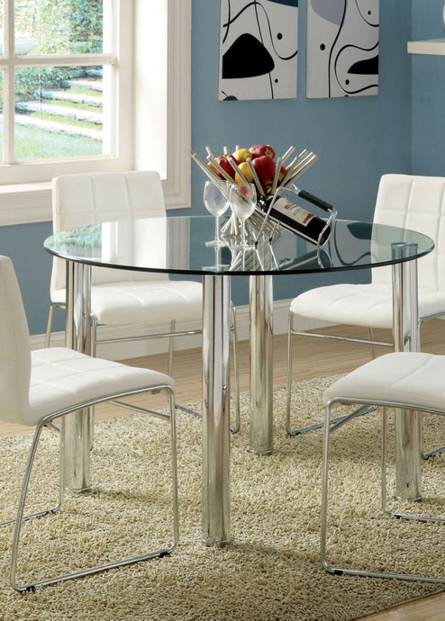 Kona I CM8320T Tempered Glass Top Round Dining Table