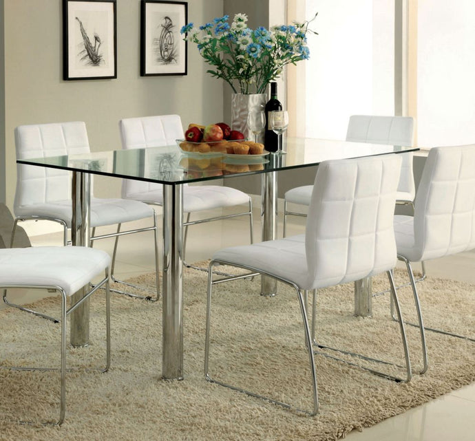 Furniture of America CM8319T Kona I Tempered Glass Top Dining Table