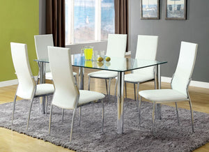 Furniture of America CM8319T Kona I 7 Piece Glass Top Dining Set