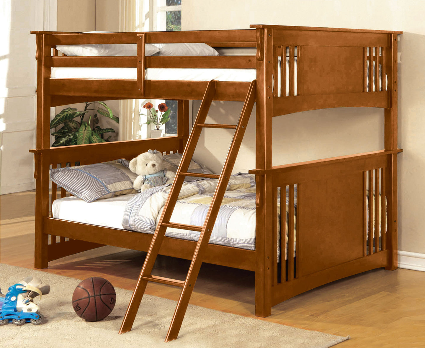 Furniture of America Spring Creek Mission Oak Full over Full Bunk Bed