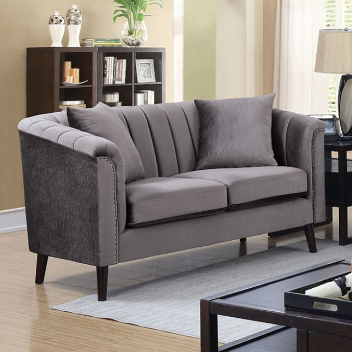 Furniture of America Dawn Gray Fabric Upholstery Loveseat