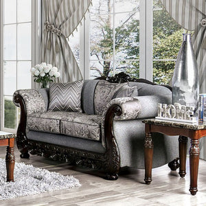 Furniture of America Newdale Gray Fabric Upholstery Loveseat