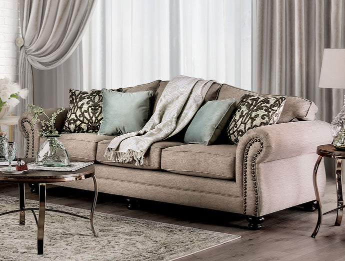 Furniture of America Jarauld Dark Taupe Fabric Upholstery Sofa