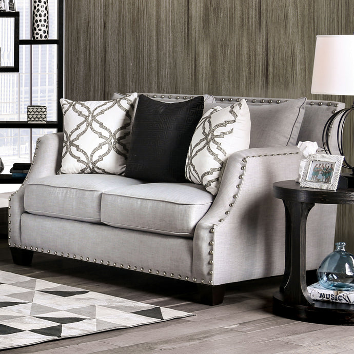 Furniture of America Phoibe Gray Fabric Upholstery Loveseat