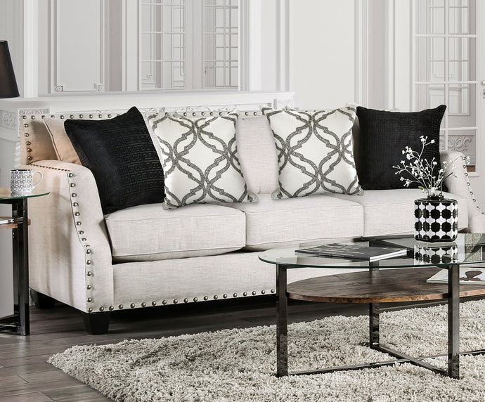 Furniture of America Phoibe Ivory Fabric Upholstery Sofa