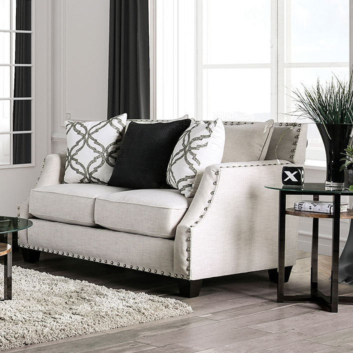 Furniture of America Phoibe Ivory Fabric Upholstery Loveseat