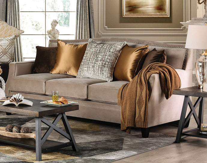 Furniture of America Camilla Tan Finish Fabric Upholstery Sofa