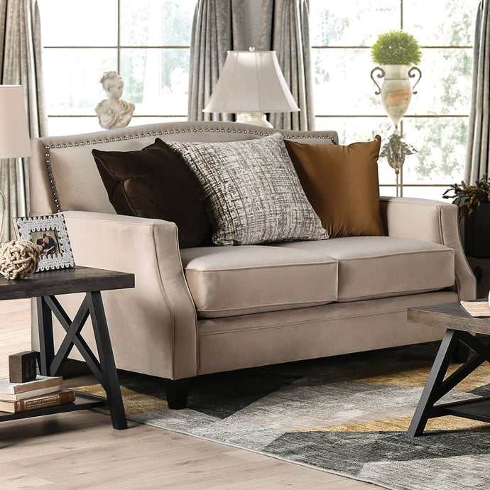 Furniture of America Camilla Tan Finish Fabric Upholstery Loveseat