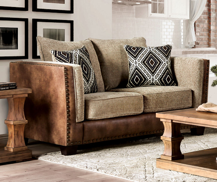 Furniture of America Chaparral Beige Brown Fabric Upholstery Loveseat