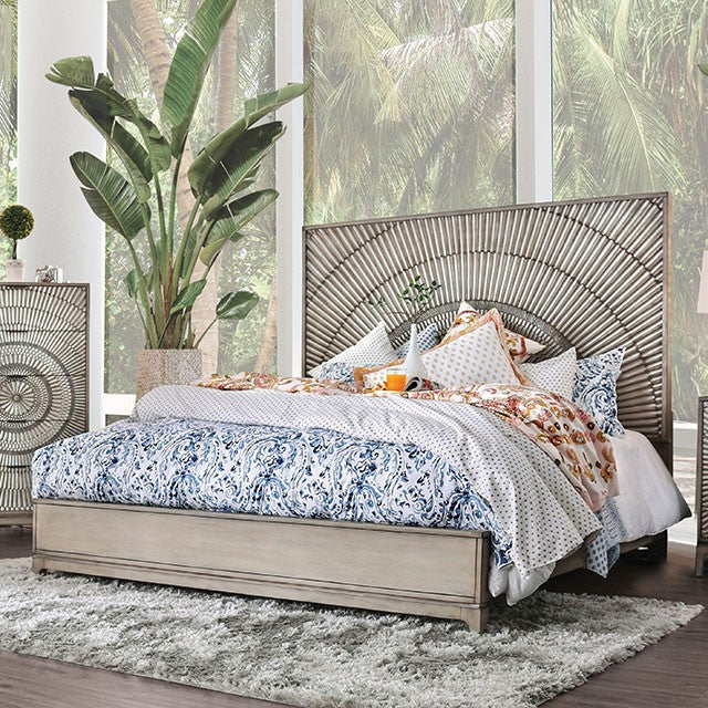 Furniture Of America Kamalah Antique Gray Wood Finish Queen Bed