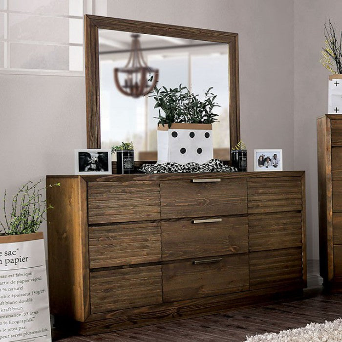 Furniture Of America Tolna Walnut Wood Finish Dresser With Mirror