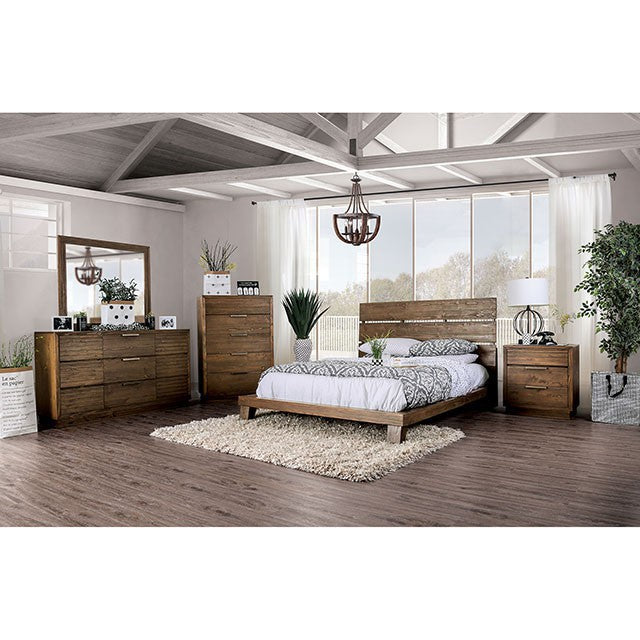 Furniture Of America Tolna Walnut Wood 4 Piece California King Bedroom Set