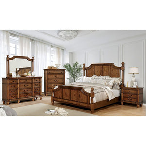 Furniture Of America Mantador Oak Wood 4 Piece California King Bedroom Set
