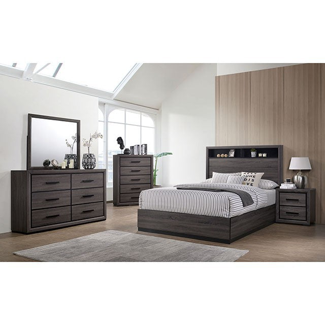 Furniture Of America Conwy Gray Wood 4 Piece California King Bedroom Set