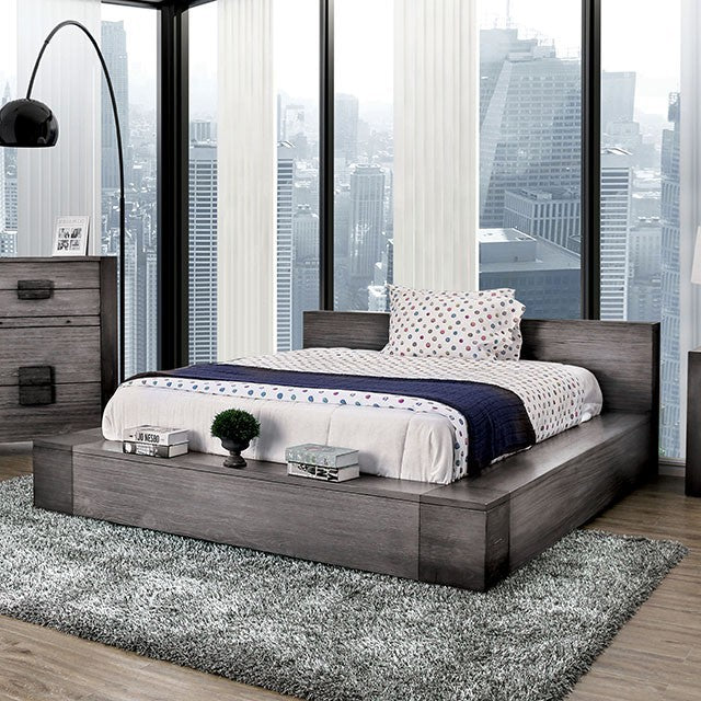 Furniture of America Janeiro Gray Wood Finish Queen Bed