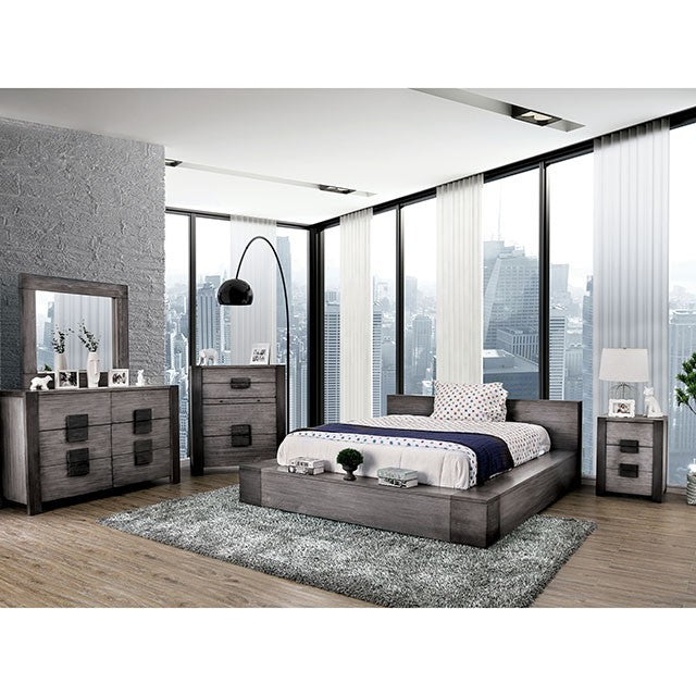 Furniture Of America Janeiro Gray Wood Finish 4 Piece Queen Bedroom Set