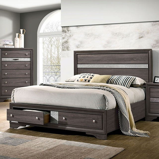 Furniture Of America Chrissy Gray Wood Finish Queen Bed
