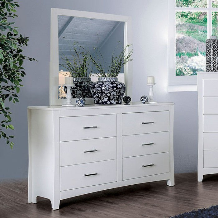 Furniture Of America Deanne White Wood Finish Dresser With Mirror