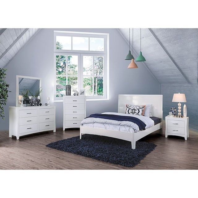 Furniture Of America Deanne White Wood Finish 4 Piece Twin Bedroom Set