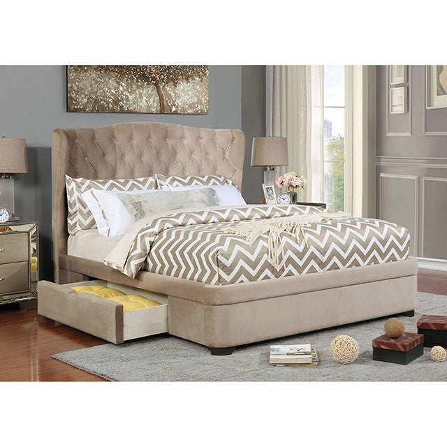 Furniture Of America Aoife Beige Linen Finish Eastern King Bed