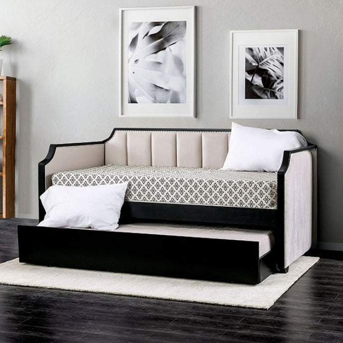 Furniture Of America Costanza Black Fabric Finish Daybed With Troundle