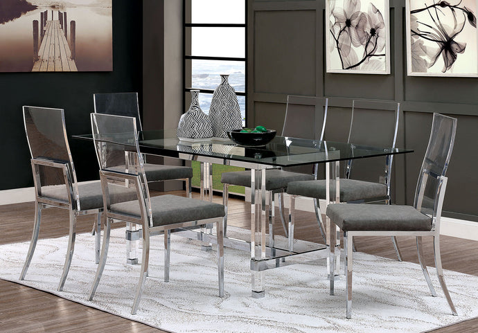 Furniture Of America Casper Chrome Acrylic Finish Dining Table